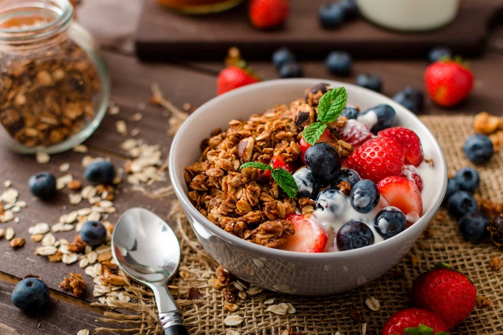 Granola bowl with fruits